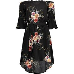 Off The Shoulder Floral Chiffon Dress ($23) ❤ liked on Polyvore featuring dresses, rosegal, floral printed dress, floral design dresses, flower printed dress, floral dresses and floral pattern dress