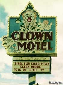 Clown Motel in Tonopah, Nv. all rooms and the lobby are decorated in clown motif, and , if that's not creepy enough for you, it is located beside an old cemetery.