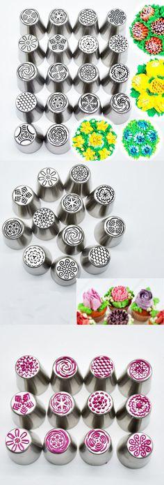 US$16.69 18Pcs DIY Flower Pastry Cake Icing Piping Nozzles Decorating Tips Baking Tools Cupcake Bakeware (Baking Tools)