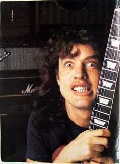 Angus Young (born 31 March 1955) is an Australian guitarist, best known as the co-founder, lead guitarist, songwriter and sole constant member of the Australian hard rock band AC/DC. He is known for his energetic performances, schoolboy-uniform stage outfits and his own version of Chuck Berry's duckwalk.