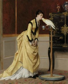 Lovely dress - and a cockatoo! Poor guy must be a long way from home; I'm surprised he's not trying to eat the girl's nose!  Le Baiser by Gustave Léonard de Jonghe, 1870's