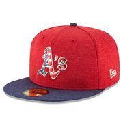 #MLBShop.com - #MLBShop.com Men's Oakland Athletics New Era Heathered Red/Heathered Navy 2017 Stars & Stripes 59FIFTY Fitted Hat - AdoreWe.com