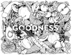 Thrilled to produce this coloring sheet for a grocery client. Floral Illustrations, Botanical Illustration, Botanical Art, Lettering Design, Hand Lettering, Packaging Design, Branding Design, Black And White Drawing, Surface Pattern Design