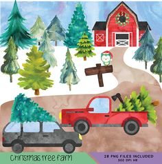 Christmas Tree Farm clip art set made with watercolor! Made with varieties to truly make it unique for your own shop! YOU WILL RECEIVE ALL Images in SECOND photo:  10 Fur/Pine/Evergreen Trees 3 SUV/Mini Vans 3 Trucks Sign with 2 different Titles 2 Christmas Owls 2 Red Barns Christmas Wreath Road/Parking Lot Sky  - 28 Watercolor elements shown in photos - 300 dpi PNG files, with transparent backgrounds Each image can easily be sized up and down as needed!  Perfect For:  Dig...