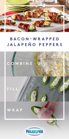 Get ready for game day with these creamy and flavor-filled Bacon-Wrapped Jalapeño Peppers made with crispy bacon, fresh jalapeño peppers, cheddar cheese, and PHILADELPHIA Spicy Jalapeño Cream Cheese spread. Cream Cheese Stuffed Jalapenos, Bacon Wrapped Jalapenos, Stuffed Jalapeno Peppers, Appetizer Recipes, Snack Recipes, Cooking Recipes, Lasagna Recipes, Appetizers, Icing Recipes