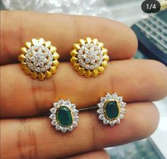 Saved by radha reddy garisa Sapphire And Diamond Earrings, Diamond Studs, Gold Earrings, Gold Rings Jewelry, Gold Jewellery Design, Gold Ornaments, Thai Style, India Jewelry, Ear Rings