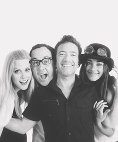 The Legend of Korra cast from left to right: Janet Varney (Korra), PJ Byrne (Bolin), David Faustino (Mako), Seychelle Gabriel (Asami)