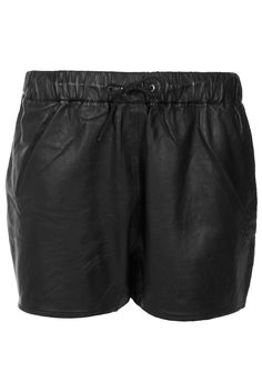 leather draw cord shorts