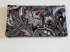 Womens Checkbook Cover, Paisley, Checkbook, Black, White, Red, Checkbook Cover, Checkbook wallet, Elegant Paisley print by Eye Candy Quilts on Etsy $10.25 #Accessories