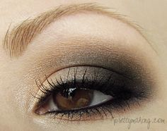 Neutral Smokey eye from Mandy on Makeup Geek site. For a detailed step-by-step on how to achieve this look, you can view the blog post I wrote here: http://prettymaking.blogspot.com/2012/05/eotd-neutral-smokey-eye.html I was playing around with the Makeup Geek 8-Eyeshadow Starter Kit and decided to create a neutral smokey eye with some depth.