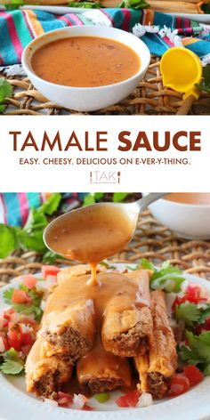 Love Mexican food? You need this easy cheesy sauce recipe in your life! This Tamale Sauce that reigns supreme with its Tex-Mex flare and chipotle kick. The perfect consistency for drizzling over tamales and more!