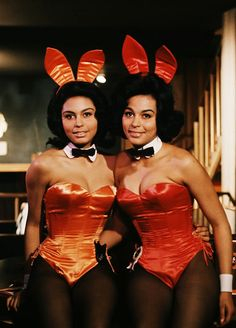 Jennifer Jackson (Miss March 1965) pictured with her twin sister Janis when they worked as Bunnies at Chicago's Playboy Club... Janis is on the left, Jennifer on the right. Janis never posed nude in the magazine.