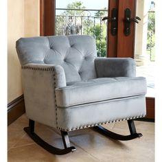 Abbyson Living Clara Teal Blue Velvet Nailhead Trim Rocker - Overstock™ Shopping - Great Deals on Abbyson Living Living Room Chairs