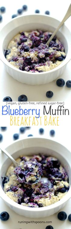 Try this vegan Blueberry Muffin Breakfast Bake -- tastes just like a blueberry muffin! Pair it with an apple for a satisfying breakfast! Breakfast Muffins, Breakfast Bake, Vegan Breakfast Recipes, Vegan Desserts, Brunch Recipes, Vegan Recipes, Cooking Recipes, Blueberry Breakfast, Avacado Breakfast