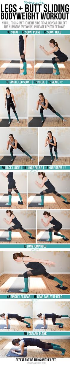 """Fitness Motivation : Illustration Description Slider Workout – focus on legs & butt (+real time workout video!) """"Sweat is fat crying"""" ! Slider Exercises, Thigh Exercises, Home Exercise Routines, At Home Workouts, Fitness Tips, Fitness Motivation, Video Fitness, Tabata Workouts, Body Workouts"""