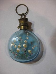 Stunning Antique Enamel Glass Perfume Scent Bottle Chatelaine Lilly Valley…