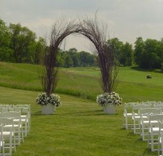 Natural Birch Wedding Arch on golf course Country Club
