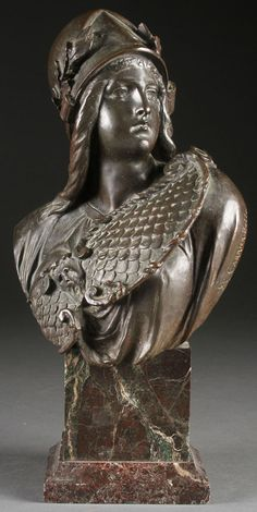 """ALBERT ERNEST CARRIER – BELLEUSE (French 1824-1897) Athena A bronze bust Signed to the side """"A. Carrier Belleuse"""" with foundry mark """"C. Valsuani Cire Perdue"""" and raised on a serpentine marble base."""