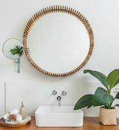 We love the natural feel of this bathroom created with the paint tones, mirror simple sink and all the other wooden elements. White Wood, Bathroom Inspiration, Studios, Sink, Mirror, Gallery, Natural, Simple, Design