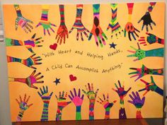 Students handprints with message