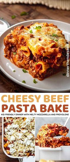 Cheesy Beef Pasta Bake is an easy kid-friendly Italian dinner dish with tomato sauce, diced tomatoes, melty, stringy mozzarella, and provolone cheese. Pasta Dinner Recipes, Delicious Dinner Recipes, Dinner Dishes, Beef Pasta, Provolone Cheese, Food Shows, Pasta Bake, Beef Dishes, Cooking Recipes
