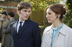Endeavour: Shaun Evans with Abigal Thaw - John Thaw's daughter - who has a recurring role as the editor of the Oxford Mail