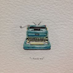 Day 60 : To one of my oldest friends, Nelle, on her birthday. Writer of the most beautiful letters I've ever had the pleasure of reading. 22 x  22 mm. #365paintingsforants #miniature #watercolour #royal #typewriter