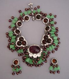 VRBA green glass and purple  	transparent beads with purple and brown cabochons and clear rhinestones  	necklace and earrings, necklace 16 with 3-1/2 front drop, earrings 2-1/3.