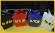 Ninja party favour boxes...great idea.  She put origami, paper ninja stars in as one of the favours too...cute!  Clearly Candace: March 2012