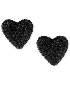 Betsey Johnson Earrings, Black Heart Stud Earrings