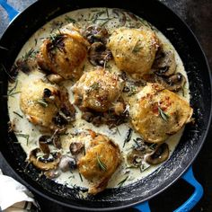 Creamy Rosemary and Mushroom Skillet Chicken Thighs are creamy, hearty, and delicious.  You are going to love every bite!