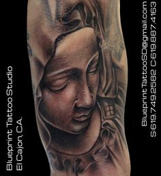 Black And Grey. Tattoo Black, Black And Grey Tattoos, Mary Tattoo, Bicep Tattoo, Virgin Mary, Portrait, Solid Black Tattoo, Dark Tattoo, Black And Gray Tattoos