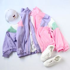 DETAILS: Available pastel jacket colors: purple and pink FIT DETAILS: One Size Shoulders: 24 inches / 61 cmSleeve: 16 inches / 41 cm Bust: 35 inches - 40 inche 1990s Fashion Trends, 80s Fashion, Cute Fashion, Korean Fashion, Vintage Fashion, Fashion Outfits, 80s Trends, Fashion 2017, Fashion Clothes