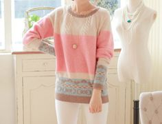 Sweet Style Round Neck Bowknot Print Contrast Color Splcing Long Sleeve Sweater For Women (AS THE PICTURE,ONE SIZE) | Sammydress.com