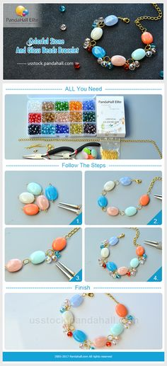 Colorful stone and glass beads bracelet DIY