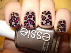 Leopard print!  Essie's Chinchilly, and OPI's Louvre Me Louvre Me Not