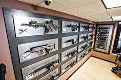 These displays over marble? Ammo Storage, Weapon Storage, Airsoft, Gun Safe Room, Reloading Room, Gun Vault, Hidden Gun, Gun Rooms, Rifles