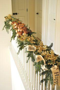 Christmas Stair rail decoration