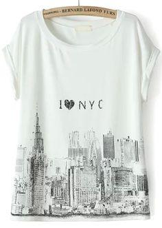 T-Shirt+Kurzarm+mit+Stadt+Print-weiß+9.96