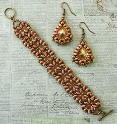 "Linda's Crafty Inspirations: Bracelet & Earrings Set - India & Marquesa--MARQUESA EARRINGS 11/0 seed beads Miyuki ""Dark Bronze"" (11-457D) 8/0 seed beads Miyuki ""Dark Bronze"" (8-457D) 14mm rivolis ""Golden Shadow"" SuperDuo beads ""Opaque Rose Gold Topaz Luster"" 4mm druks ""Bronze"" & INDIA BRACELET 11/0 seed beads Miyuki ""Dark Bronze"" (11-457D) 3mm druks ""Bronze"" 4mm rondelles ""Champagne - #C26 AB"" (Beads One) SuperDuo beads ""Opaque Rose Gold Topaz Luster"""
