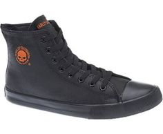 26b38f88fd4015 classic high-top sneaker dripping in Harley-Davidson® style. This badass Baxter  sneaker is made with textured leather instead of boring canvas.
