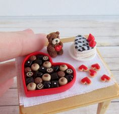COMING SOON! St Valentine's Day Teddy Bear Handmade Dollhouse Miniature Food  #Handmade