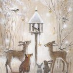 Deer, birds, rabbits in the snow at the bird feeder. Snow covered forest painting by Sarah Summers. Deer, birds, rabbits in the snow at the bird feeder. Snow covered forest painting by Sarah Summers. Boxed Christmas Cards, Christmas Scenes, Christmas Animals, Christmas Pictures, Christmas Art, Winter Christmas, Christmas Decorations, Xmas, Woodland Christmas