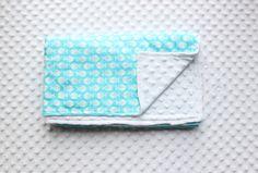 Fish Snuggle Blanket // Aqua Blanket // White Minky // Minky Blanket // Receiving Blanket // Gender Neutral Blanket // Baby Boy // Baby Girl...