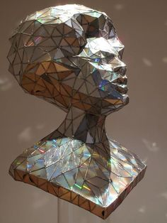 Crystal: A Sculptural Portrait Constructed from used CDs