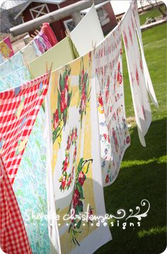 Love the vintage linen. When I was growing  up mom always hung out the wash. I was able to help give her clothespins and later when I could reach helped hang and take down wash.