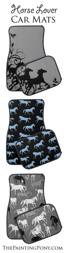 Equestrian CAR MATS - for the horse lover truck or other automobile - add equestrian style with colorful and stylish galloping horses and pony themed artwork. Perfect for anyone who enjoys horseback riding.