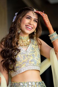 """""""To nail that wedding look, every bride-to-be remains on a constant lookout for that perfect Indian bridal makeup look. Every day social media is flooded with various makeup trends, and you need to be careful before with your bridal look. From traditional bridal look to minimal makeup, check out Our Favorite 51 Indian Bridal Makeup Looks before selecting yours. """" Bridal Makeup Looks, Indian Bridal Makeup, Bridal Looks, Lehenga Dupatta, Bridal Dupatta, Indian Wedding Photography Poses, Bride Photography, Minimal Makeup Look, Bridal Hairdo"""