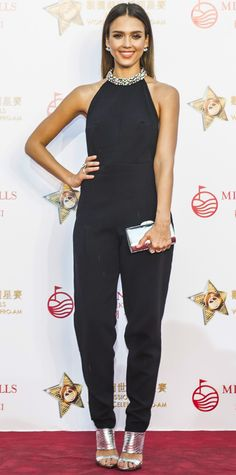 Look of the Day - October 27, 2014 - Jessica Alba in a black Emilio Pucci jumpsuit from #InStyle