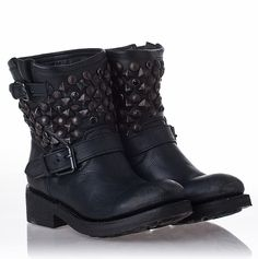 Ash. Titanic Boot Black Leather/Black Studs